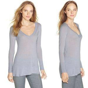 WHBM Soft V-neck Split Back Sweater